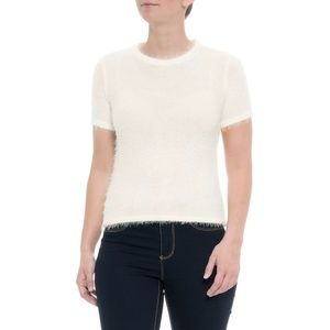 Ebby and I Fluffy Fuzzy Sweater Short Sleeve Top